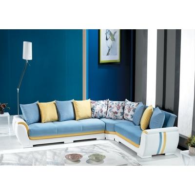 Canapé angle lit-coffre bleu DESERTO