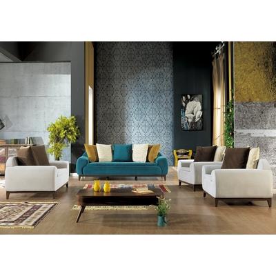 Canapé en tissu velours bleu taupe KOZA