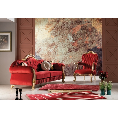 Canapé Baroque velours rouge OTTO