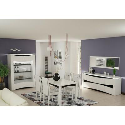 Vitrine meuble tv laqu blanc vela design moderne pas cher for Meuble salle a manger laque blanc