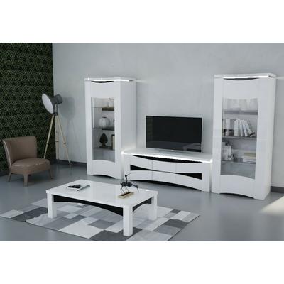 Vitrine meuble tv laqué blanc VELA