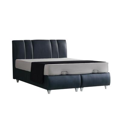 Lit coffre & tête de lit velours gris POLO