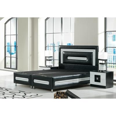 Lit coffre & tête de lit simili cuir noir AZRA