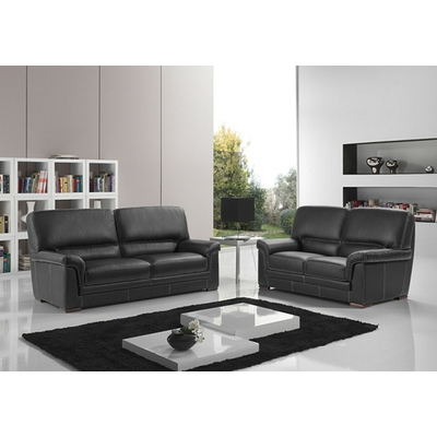 Canapé cuir design noir ANITA