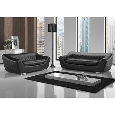 Canapé cuir noir design MICHELANGE