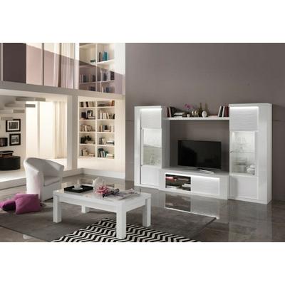 Vitrine meuble tv laqué blanc led venezia