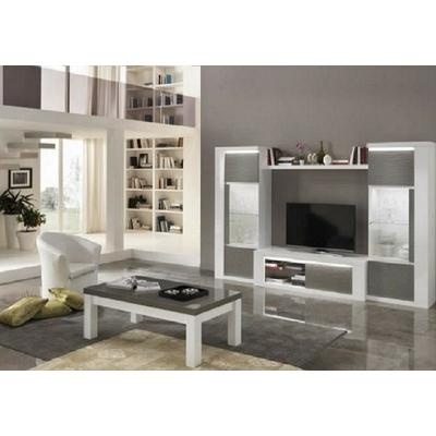 Vitrine meuble tv laqué blanc gris led VENEZIA