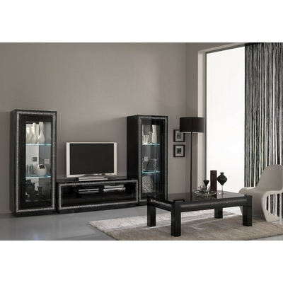 Vitrine meuble tv laqué noir led PRESTIGE