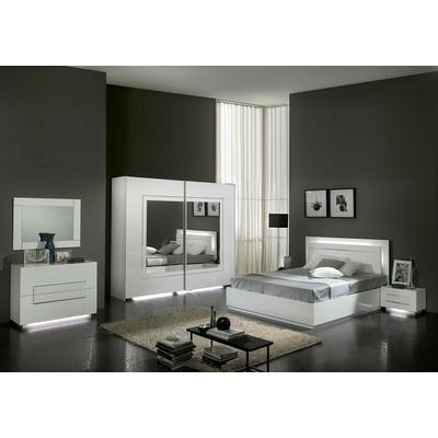 Chambre à coucher laqué blanc led CITY