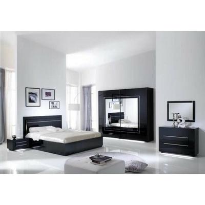 Chambre à coucher laqué noir led CITY