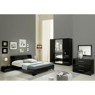 Chambre à coucher laqué noir GLORIA