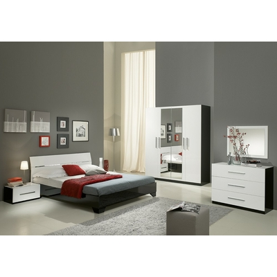 Chambre à coucher laqué noir blanc GLORIA