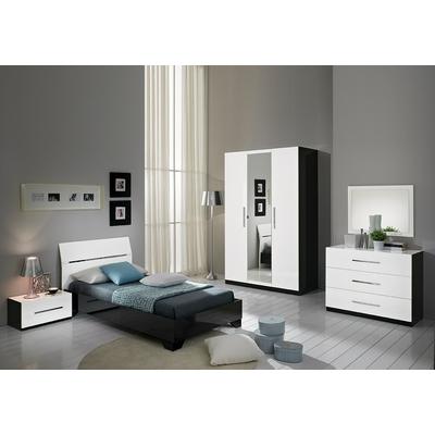 Chambre à coucher enfant laqué noir blanc GLORIA