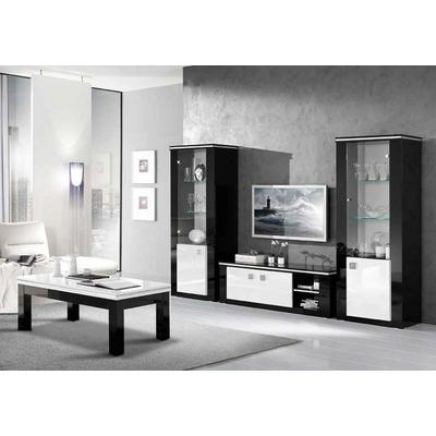 Vitrine meuble tv laqué noir blanc ETOILE