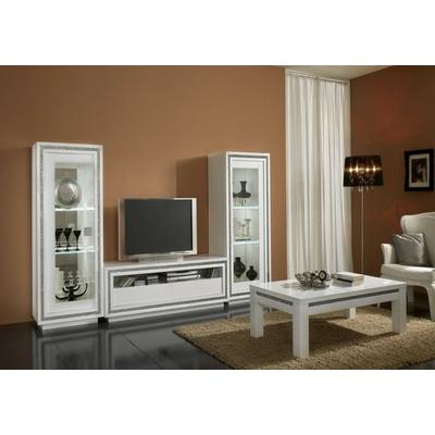 Vitrine meuble tv laqué blanc led PRESTIGE