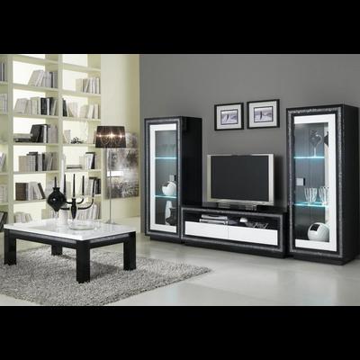 Vitrine meuble tv laqué noir blanc led PRESTIGE