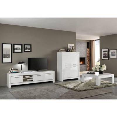 Bar meuble tv laqué blanc MODENA