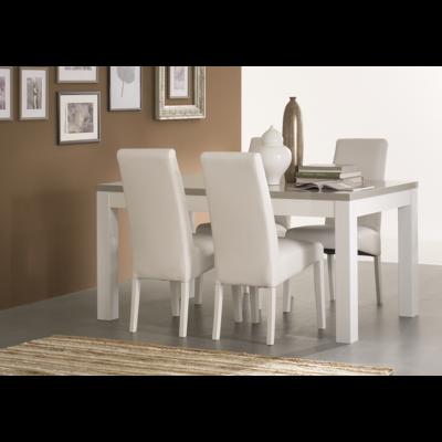 Table à manger et chaise laqué blanc gris ROMA