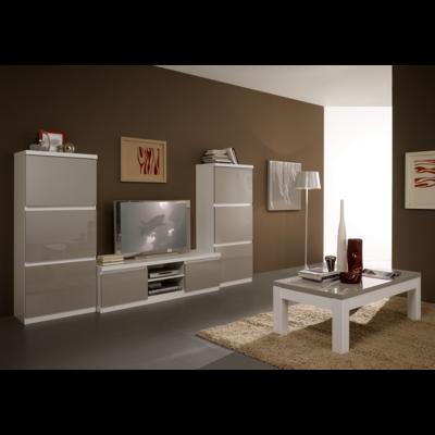 Colonnes meuble tv laqué blanc gris ROMA