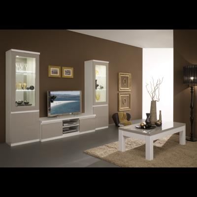 Vitrine meuble tv laqué blanc gris led ROMA