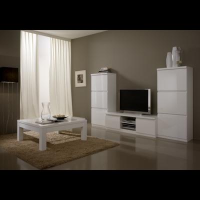 Colonnes meuble tv laqué blanc ROMA