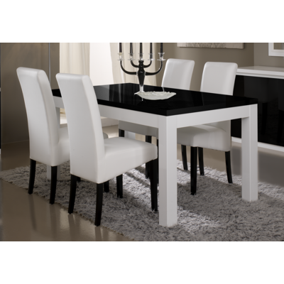 Table à manger et chaise laqué blanc noir ROMA