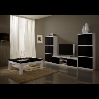 Colonnes meuble tv laqué blanc noir ROMA