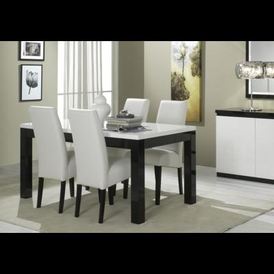 Table à manger et chaise laqué noir blanc ROMA