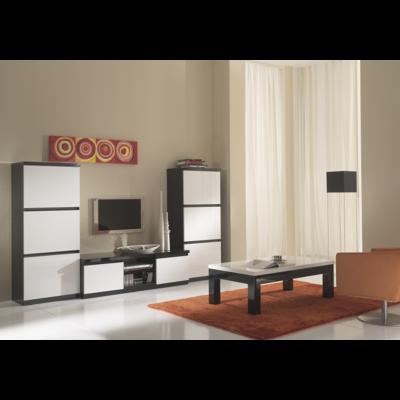 Colonnes meuble tv laqué noir blanc ROMA