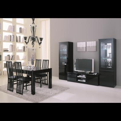 Vitrine meuble tv laqué noir led ROMA