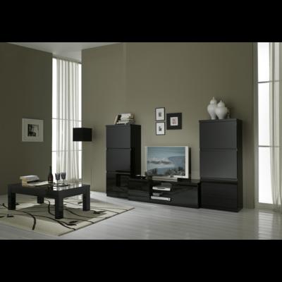 Colonnes meuble tv laqué noir ROMA