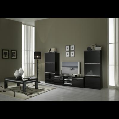 Colonnes meuble tv laqué noir ROMA Crome
