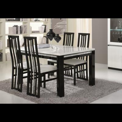Table à manger et chaise noir blanc ROMA Crome
