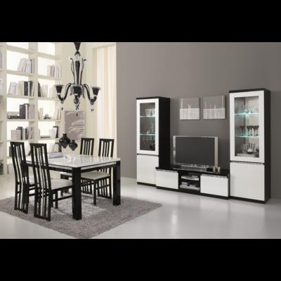 Vitrine meuble tv laqué noir blanc led ROMA Crome