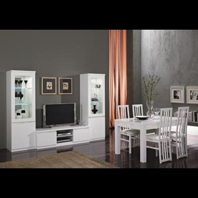 Vitrine meuble tv laqué blanc led ROMA Crome