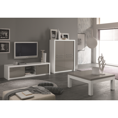 Bar meuble tv laqué blanc gris FANO