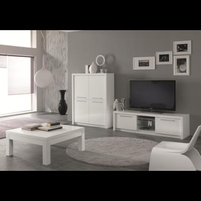 Bar meuble tv laqué blanc FANO