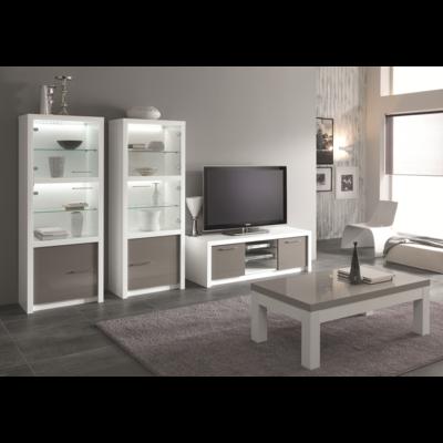 Vitrine meuble tv laqué blanc gris led FANO