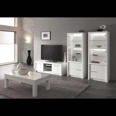 Vitrine meuble tv laqué blanc led FANO
