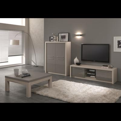 Bar meuble tv laqué chêne gris FANO