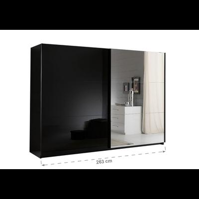 Armoire portes coulissantes miroir laquée noir JAZZ