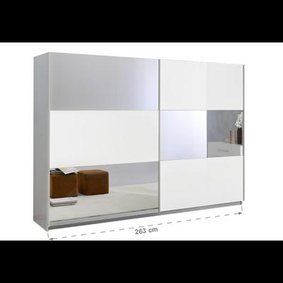 Armoire portes coulissantes miroir laquée blanc JAZZ
