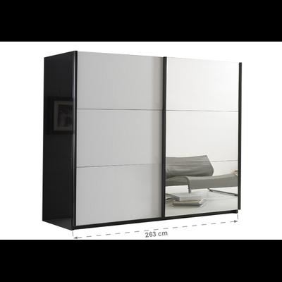 Armoire portes coulissantes miroir laquée noir blanc JAZZ