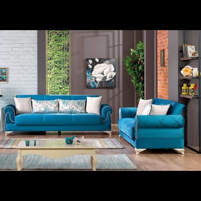 Canapé lit coffre velours bleu NEW GOLF