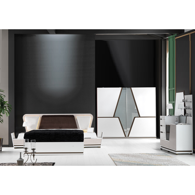 Chambre complète baroque blanc PIRAMIT
