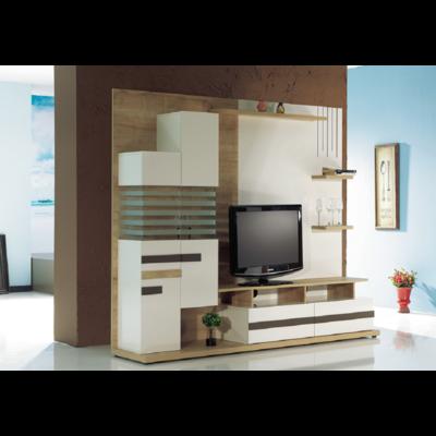 Mur-living Tv couleurs bois blanc SAFIR