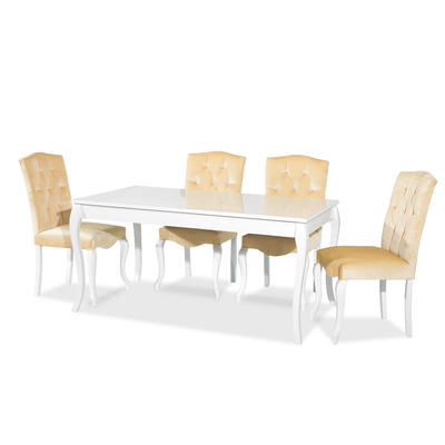 Ensemble table blanc & chaise beige SR-500