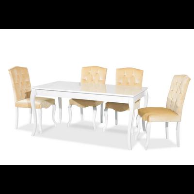 Ensemble table blanc & chaise beige SR-500