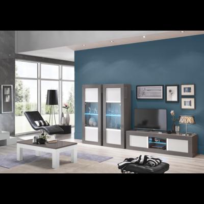 Vitrine meuble tv laqué gris blanc led NEOS