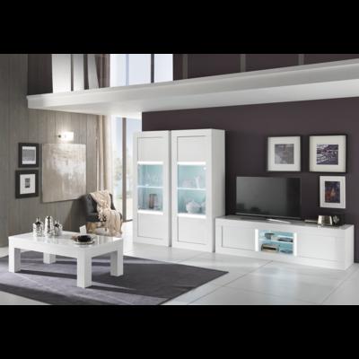 Vitrine meuble tv laqué blanc led NEOS